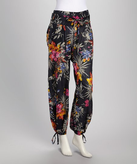 Black & Pink Tropical Floral Harem Pants - Women