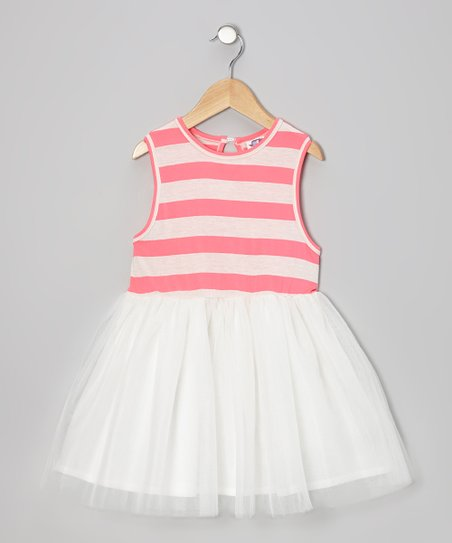 Coral Stripe A-Line Dress - Infant, Toddler & Girls