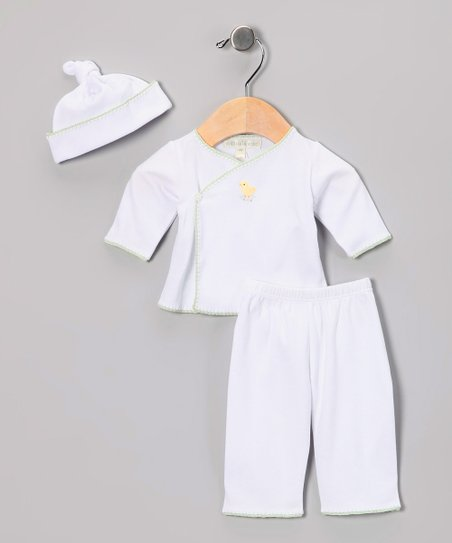 White & Green Chick Wrap Top Set - Infant