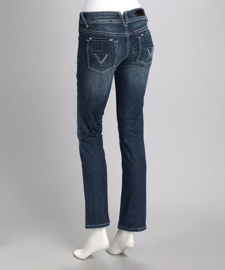 Light Wash Rhinestone Pocket Straight-Leg Jeans