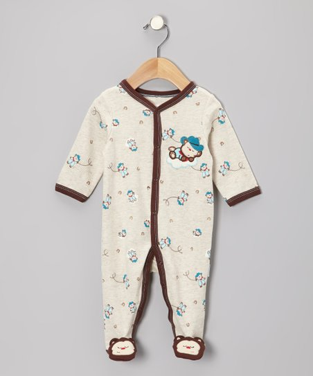 Oatmeal Cowboy Monkey Footie - Infant