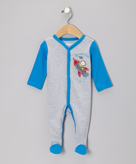 Gray & Blue Space Monkey Footie - Infant