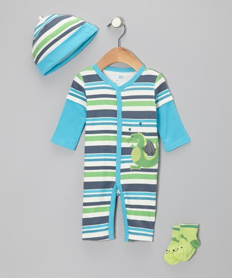 Turquoise Stripe Dragon Playsuit Set - Infant