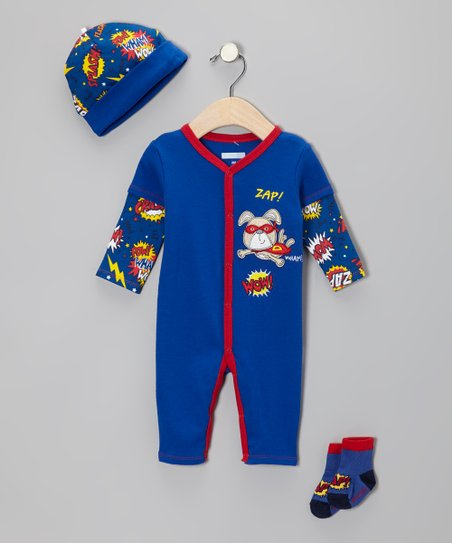 Royal Blue 'Pow! Wham! Wow!' Playsuit Set - Infant
