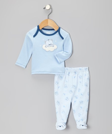 Powder Blue Sleepy Bear Top & Footie Pants - Infant