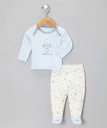 Powder Blue Blast Off Top & Footie Pants - Infant