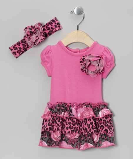 Hot Pink Rose & Leopard Skirted Bodysuit & Headband - Infant