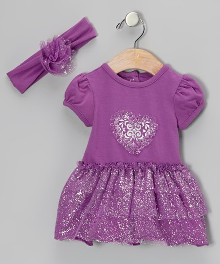 Purple Heart Twinkle Skirted Bodysuit & Headband - Infant