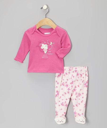 Pink 'Reach For the Stars' Top & Footie Pants - Infant