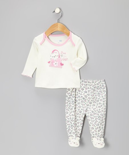 Ivory 'Shop 'til You Nap!' Top & Footie Pants - Infant