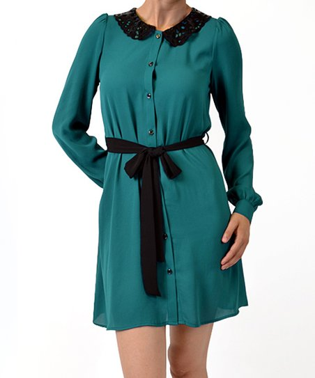 Teal Sequin Collar Dress