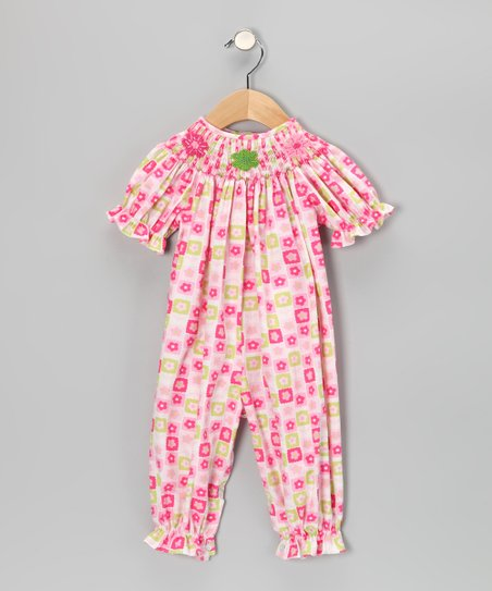 Pink Flower Smocked Playsuit - Infant