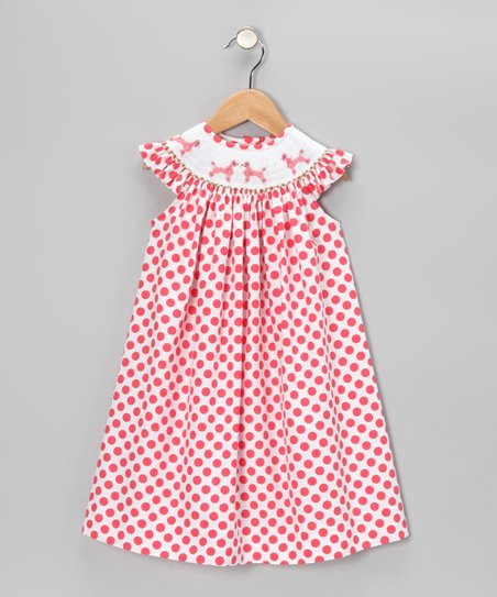 Red Polka Dot Poodle Angel-Sleeve Dress - Infant & Toddler