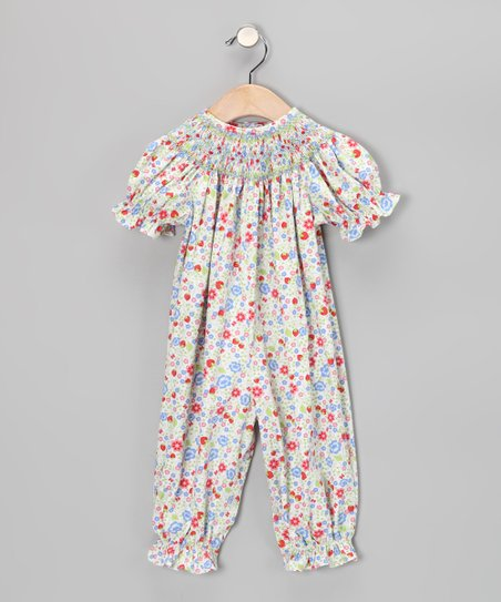 Green Floral Smocked Playsuit - Infant