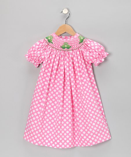 Pink Polka Dot Frog Bishop Dress - Infant, Toddler & Girls