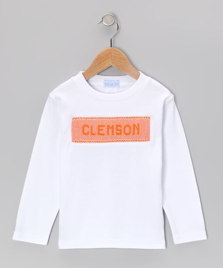 White & Orange 'Clemson' Smocked Tee - Toddler