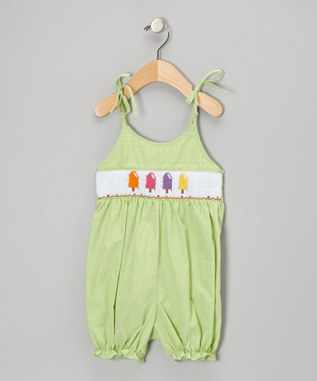 Green Popsicle Gingham Bubble	Romper - Infant