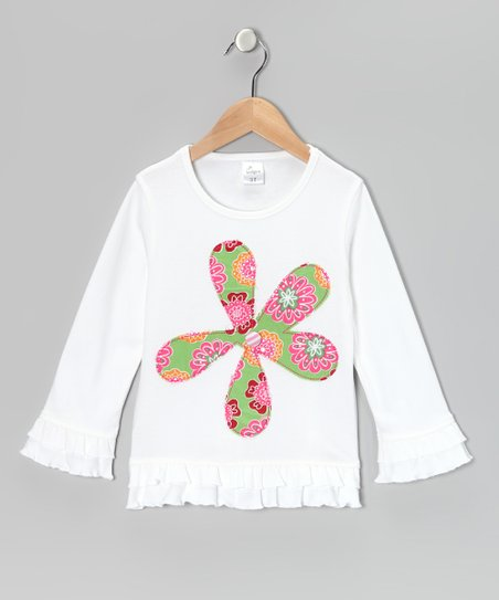 White Flower Ruffle Tunic - Infant, Toddler & Girls