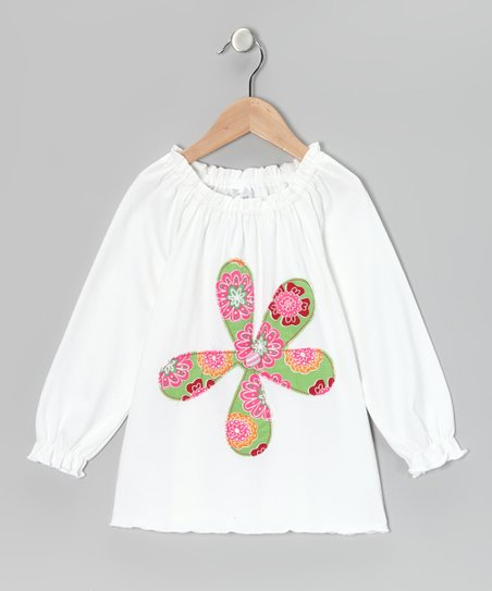 White Flower Peasant Tunic - Infant, Toddler & Girls