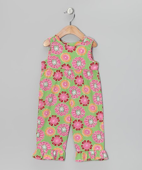 Green & Pink Floral Romper - Infant & Toddler