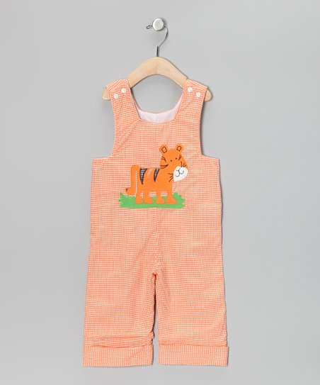 Orange Tiger Gingham Overalls - Infant & Toddler