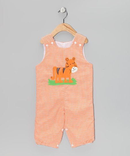 Orange Tiger Gingham Bubble Overalls - Infant & Toddler