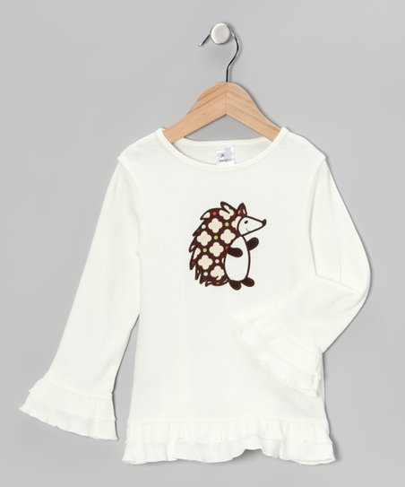 Cream Hedgehog Ruffle Tunic - Toddler & Girls