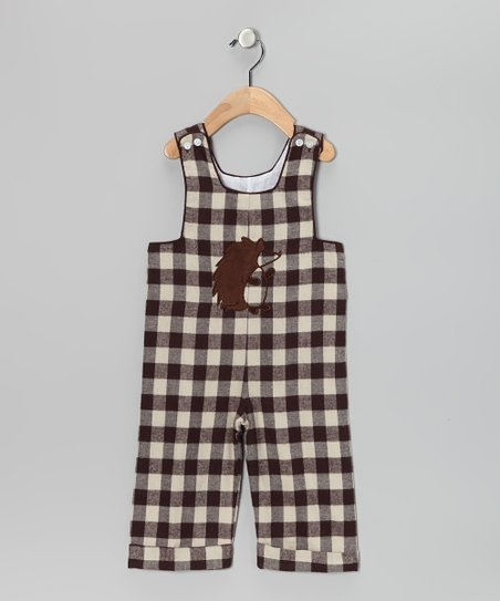 Brown &amp; Cream Hedgehog Gingham Overalls - Infant &amp; Toddler