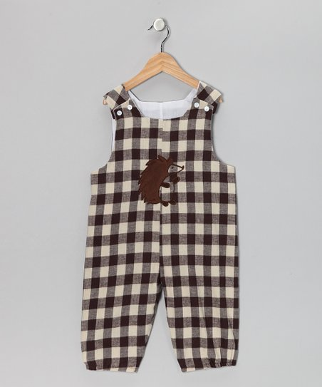 Brown & Cream Hedgehog Gingham Bubble Overalls - Infant & Toddler