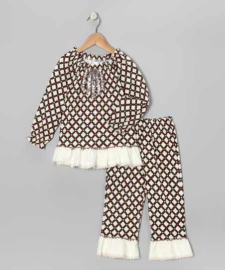 Brown Ruffle Top &amp; Pants - Infant, Toddler &amp; Girls