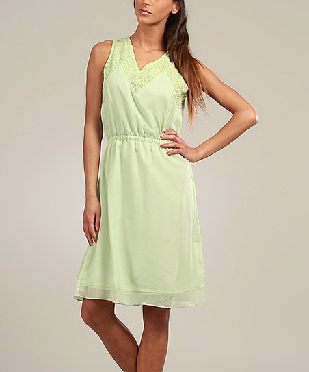 Mint Lace-Collar Sleeveless Dress