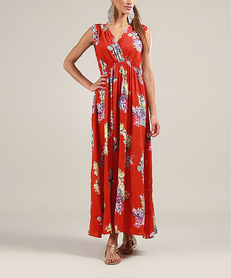 Red Floral Surplice Maxi Dress