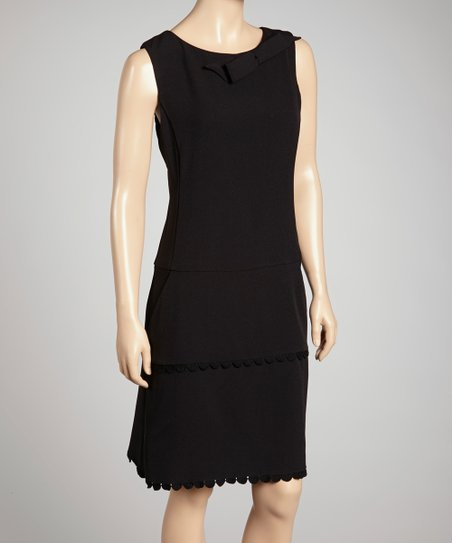 Black Bow Peplum Sheath Dress