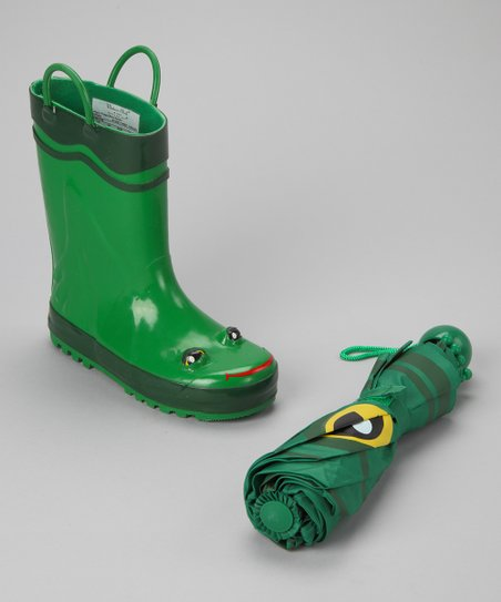 Green Frog Rain Boot & Umbrella
