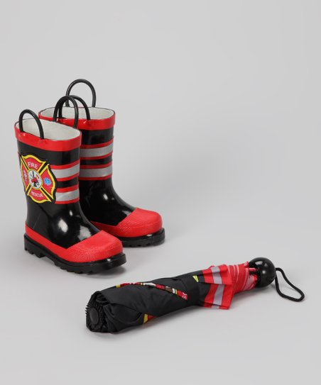 Black & Red Fireman Rain Boot & Umbrella