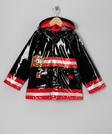 Black Fireman Fleece-Lined Raincoat - Toddler