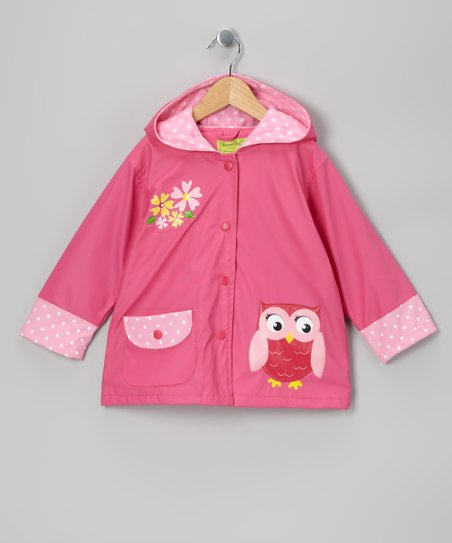 Pink Owl Fleece-Lined Raincoat - Toddler & Kids