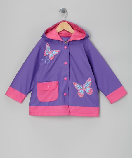 Purple Butterfly Fleece-Lined Raincoat - Toddler