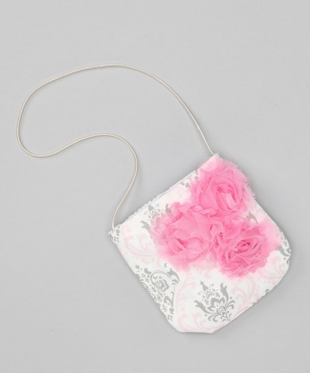 Pink & Gray Damask Rose Petit Purse