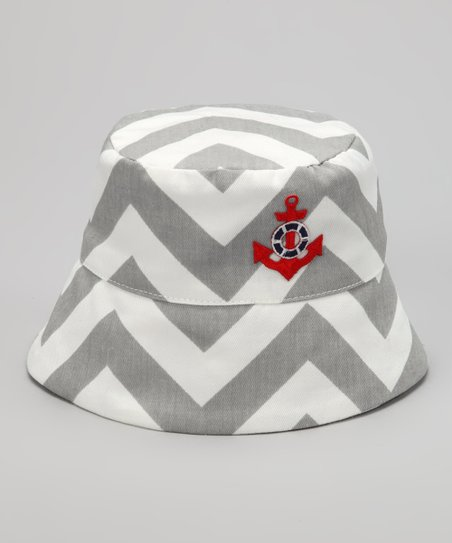 Gray Chevron Anchor Bucket Hat