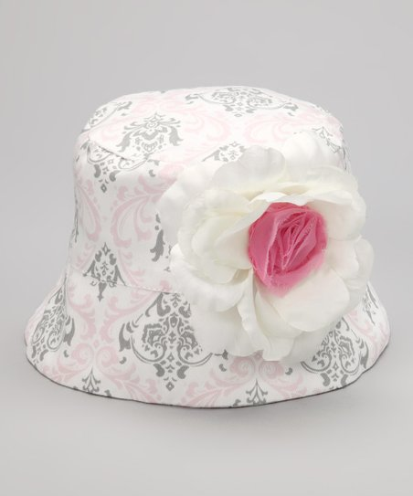 Pink & Gray Damask Flower Bucket Hat