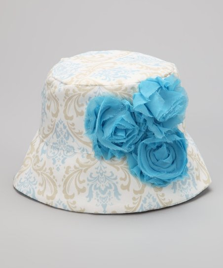 Blue & Gray French Damask Rose Bucket Hat