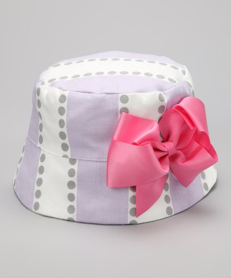 Lilac &amp; Gray Stripe Bow Bucket Hat