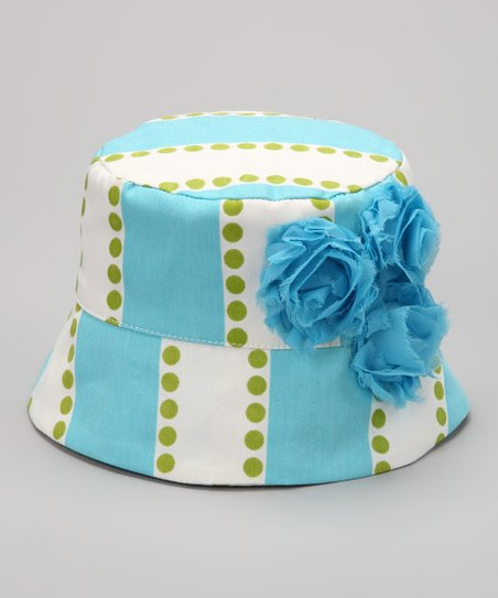 Turquoise &amp; Lime Stripe Rose Bucket Hat