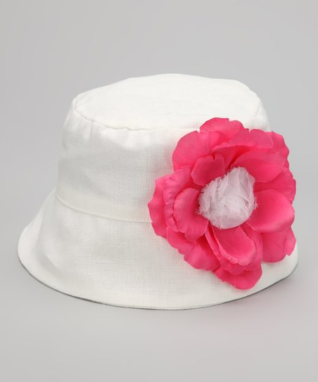 White &amp; Pink Flower Bucket Hat