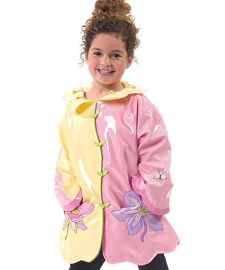 Pale Yellow & Pink Lotus Raincoat - Infant, Toddler & Kids
