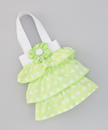 Apple Green Polka Dot Flower Bag