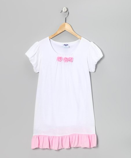 White & Pink Rosette Dress - Girls
