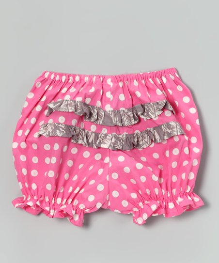 Pink Polka Dot Ruffle Bloomers - Infant