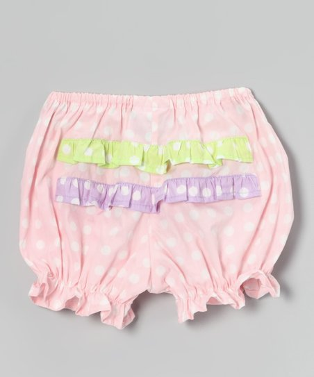 Baby Pink Polka Dot Ruffle Bloomers - Infant
